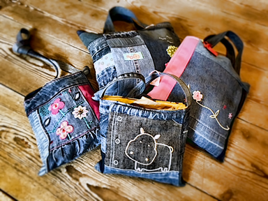 Bags created by Jenny Langley from reclaimed materials