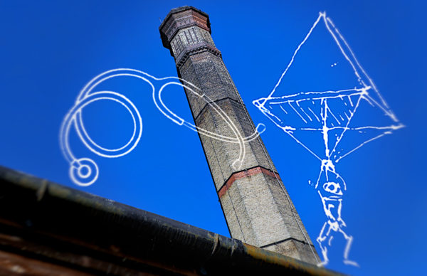 Towering chimney, stethoscope and parachute