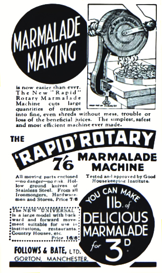 Rapid Rotary Marmalade Machine advert, December 1933