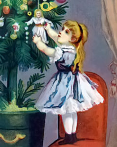 Victorian Christmas Card - Girl Decorating Tree