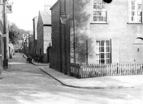 Black and white photograph of Saxon Street
