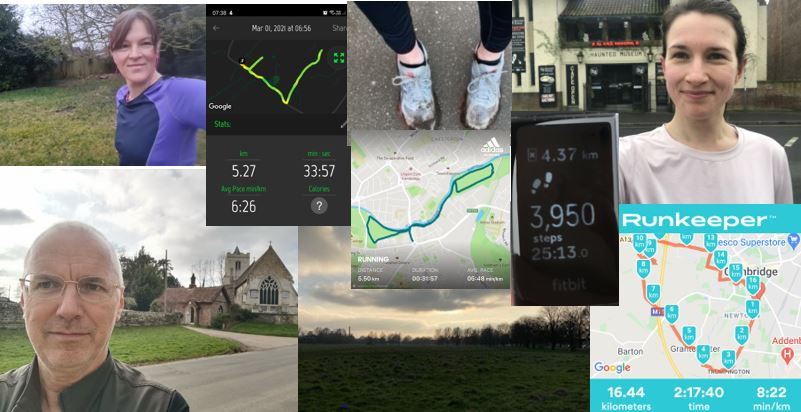 A montage of staff and trustees on their first runs. Smiling faces, screenshots from run-mapping apps, muddy trainers.